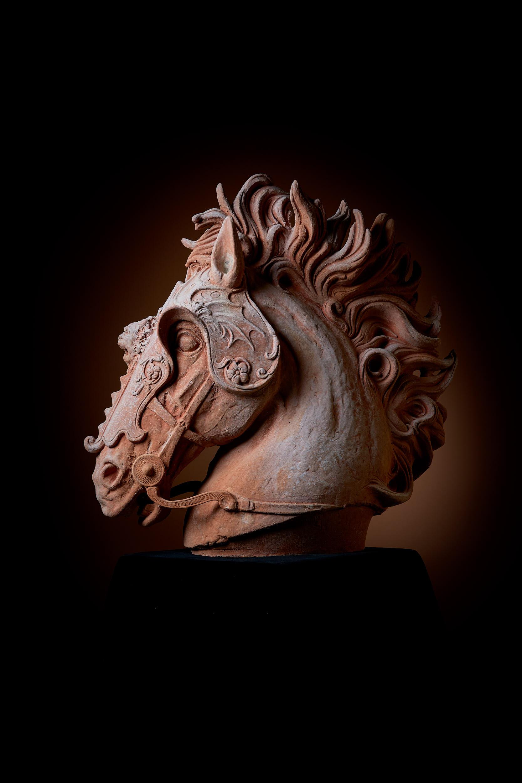 Skulptur Pferdekopf -  natur